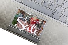 Venta en línea de las compras de la moda Imágenes de archivo libres de regalías