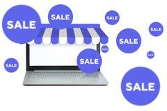 Venta en línea del ordenador portátil Foto de archivo libre de regalías