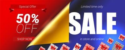 Venta en tienda y oferta en línea, especial Descuento del hasta 50 por ciento Bandera con el diseño del texto, esquina encrespada libre illustration