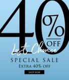 Venta especial diseño del título del 40 por ciento en el fondo azul para los vagos Stock de ilustración