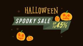 Venta fantasmagórica de Halloween hasta 45 con cantidad de la calabaza ilustración del vector