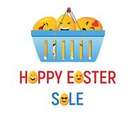 Venta feliz de Pascua con los huevos sonrientes Imagenes de archivo