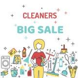 Venta grande de los limpiadores con los iconos Fotografía de archivo libre de regalías