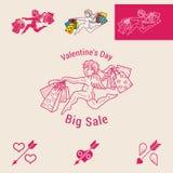 Venta grande del día de tarjeta del día de San Valentín Fotografía de archivo
