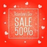 Venta grande del día del ` s de la tarjeta del día de San Valentín 50 apagado Fotos de archivo libres de regalías