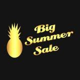 Venta grande del verano de la piña del oro del vector Fotografía de archivo libre de regalías