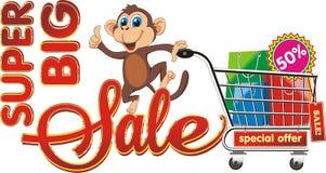 Venta grande Mono con las compras Foto de archivo libre de regalías