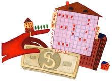 Venta Guantes, crucigrama, dinero y casa stock de ilustración