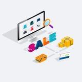 Venta isométrica del comercio electrónico del web plano 3d, negocio electrónico, onli Imagen de archivo libre de regalías