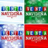 Venta Navidena, Christmas Sale Spanish text, shopping bags stock illustration