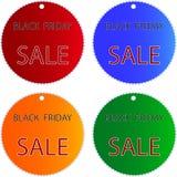 Venta negra de viernes en escrituras de la etiqueta del círculo de colores de Muti Foto de archivo libre de regalías