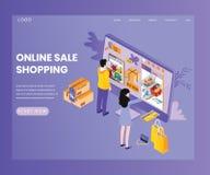 Venta que hace compras en línea en concepto isométrico de las ilustraciones de los productos stock de ilustración