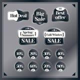 Venta, sistema del descuento de las etiquetas del vintage El mejor precio y oferta especial B Imagen de archivo libre de regalías