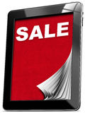 Venta - tableta con las páginas Imagen de archivo libre de regalías