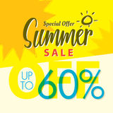 Venta V determinado del verano diseño amarillo del título del 2 60 por ciento para el banne Imágenes de archivo libres de regalías