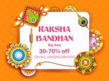 Venta y cartel de la bandera de la promoción con Rakhi decorativo para Raksha Bandhan, festival indio del hermano y de la vincula stock de ilustración