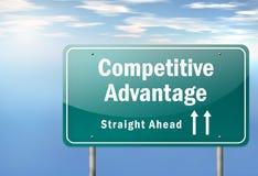 Ventaja competitiva del poste indicador de la carretera Fotografía de archivo