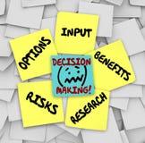 Ventajas pegajosas Resear de los riesgos de las opciones de la entrada de las notas de la toma de decisión Fotografía de archivo