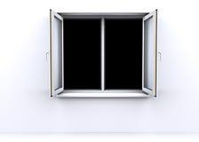 Ventana abierta con un fondo negro Fotos de archivo