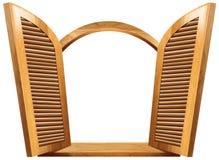 Ventana abierta de madera ilustración del vector
