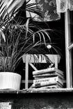 Ventana abierta en el verano en el cual los libros de las mentiras del travesaño de la ventana y la a Imágenes de archivo libres de regalías