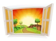 Ventana abierta en un paisaje rural del verano ilustración del vector