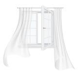 Ventana abierta y cortinas que agitan ilustración del vector