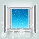 Ventana abierta y nieve que cae Imagenes de archivo