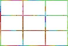 Ventana abstracta con nueve casillas blancas en un marco brillantemente coloreado Foto de archivo libre de regalías