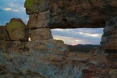 Ventana abstracta de la formación de roca aka en el parque nacional de Isalo, Madagascar imágenes de archivo libres de regalías
