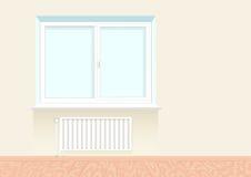 Ventana aburrida realista con un radiador Fotografía de archivo libre de regalías