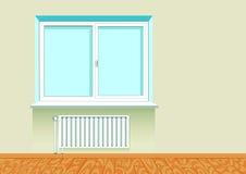 Ventana aburrida realista con un radiador Imagen de archivo libre de regalías