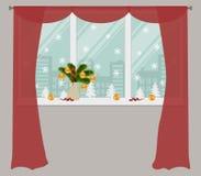 Ventana, adornada con la decoración de la Navidad Ilustración del Vector