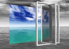 Ventana al paraíso, paisaje marino, una ventana al mar Foto de archivo