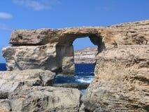 Ventana azul, Gozo, Malta fotografía de archivo