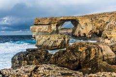 Ventana azul, Gozo, Malta Imagen de archivo