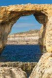 Ventana azul, isla de Gozo, Malta Foto de archivo libre de regalías