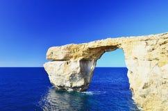 Ventana azul Malta, Gozo Fotografía de archivo