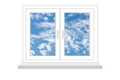 Ventana cerrada con una clase en el cielo azul en un fondo blanco Imagen de archivo