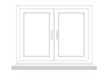 Ventana cerrada en un fondo blanco, se aísla Imágenes de archivo libres de regalías