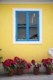 Ventana colorida del estilo portugués en el taipa Macao Foto de archivo libre de regalías