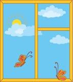 Ventana con el cielo, el sol y las mariposas libre illustration