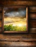 Ventana con el fondo de madera del grano Imagen de archivo libre de regalías