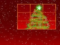 Ventana con el pan de jengibre del ~ del árbol de navidad Fotos de archivo libres de regalías