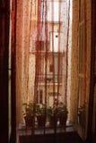 Ventana con la cortina roja Imágenes de archivo libres de regalías