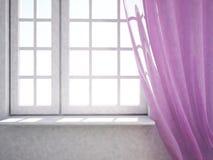 Ventana con la cortina rosada ilustración del vector