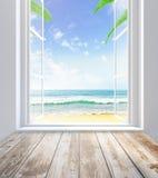 Ventana con la opinión de la playa libre illustration