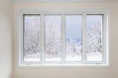 Ventana con la vista de los árboles del invierno imagenes de archivo