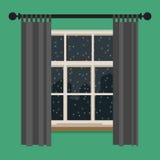 Ventana con la vista del paisaje del invierno stock de ilustración