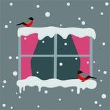 Ventana con las cortinas rojas en un d?a nevoso Pi?oneros que se sientan en el fondo del invierno de la ventana Ilustraci?n del v libre illustration